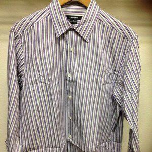Claiborne Purple Gray Striped Men's M Button Down
